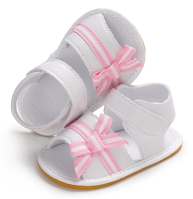 KMSUNME Baby Girls Sandals Rubber Bottom Non-Slip Toddler Shoes Adjustable Strap First Walker
