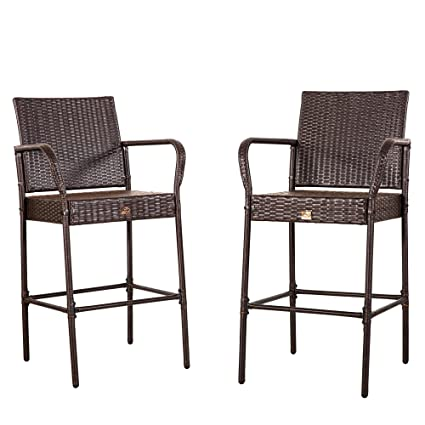 Genial Cloud Mountain No Tax Set Of 2 Outdoor Wicker Rattan Bar Stool Outdoor  Patio Furniture Bar