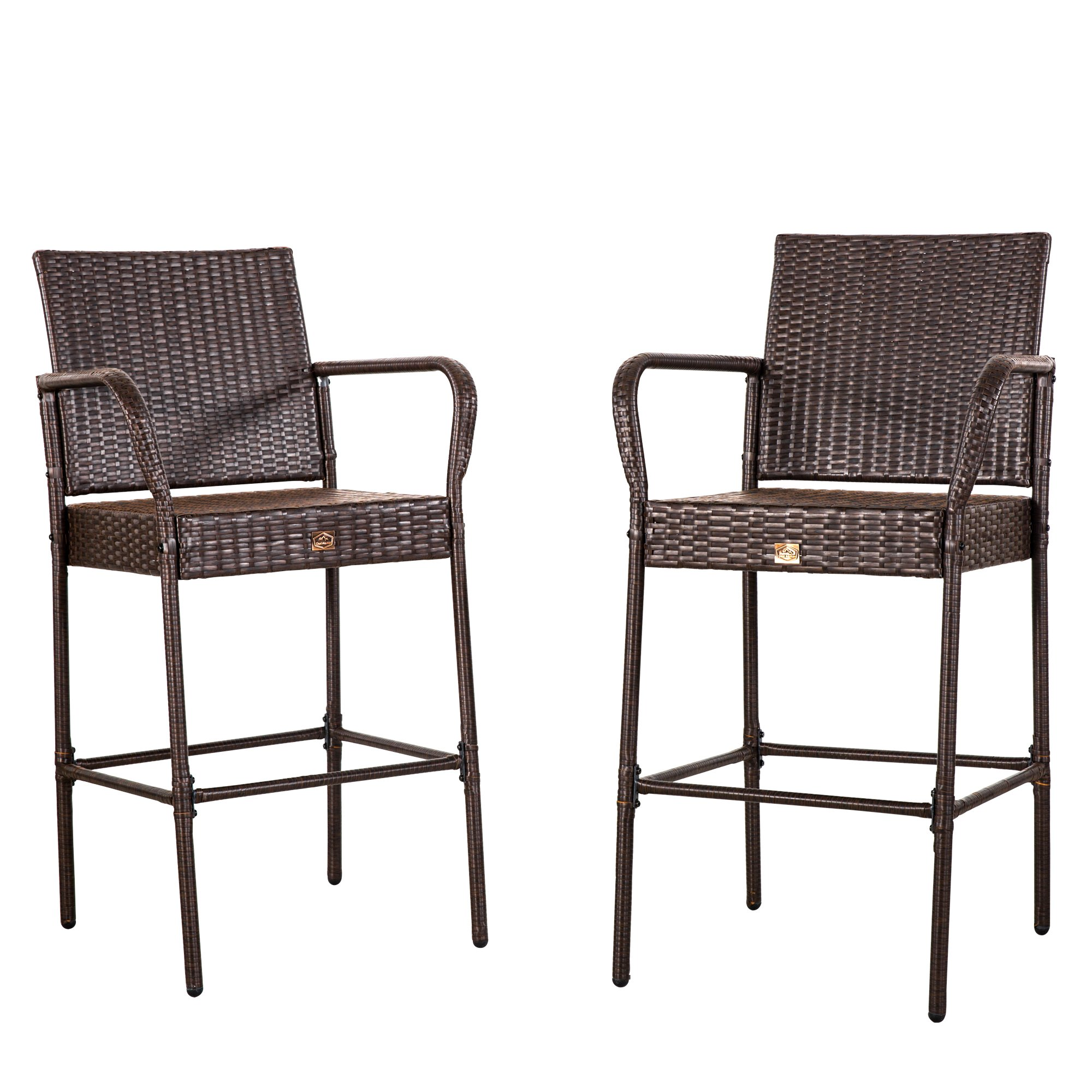 Cloud Mountain No Tax Set of 2 Outdoor Wicker Rattan Bar Stool Outdoor Patio Furniture Bar Stools Chairs Club Chair Patio Dining Chairs, Brown