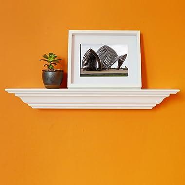 WELLAND Corona Crown Molding Floating Wall Picture Ledge Shelf (18-Inch White)