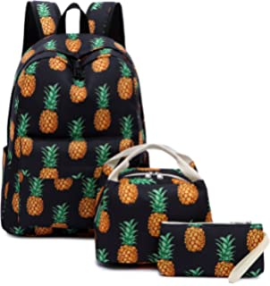 Leather Yellow Pineapple Exotic Stripe Backpack Daypack Bag Women