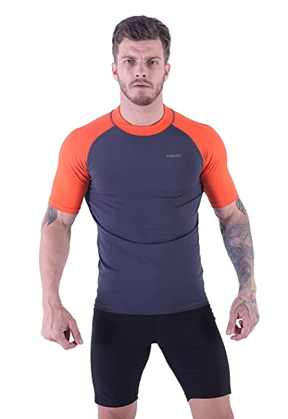 Hombre Camiseta de Manga Corta UV Rash Vest UPF 50+ Surf Rashguard Swimsuit Camiseta de