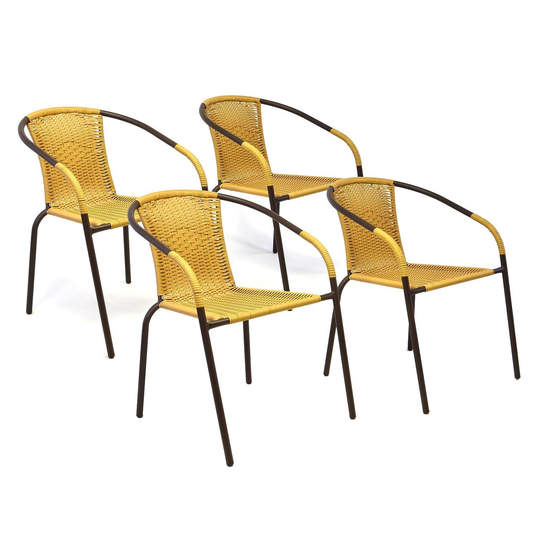 Nexos 4er Set Bistrostuhl Stapelstuhl Balkonstuhl Poly Rattan Gartenstuhl Terrasse Stuhl beige GM36422_SL4