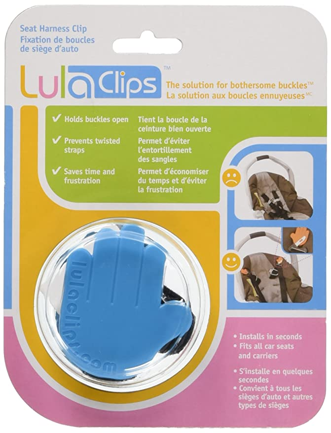 lulaclips baby car seat harness clips (2-pack) - hold buckles open, prevent  twisting straps and save time - easy to install, childproof locking pin -  fit