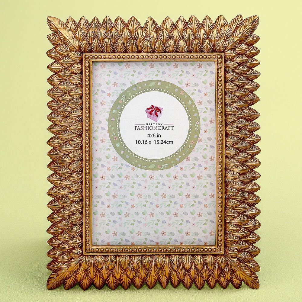 18 Brushed Gold Leaf Design 4 x 6 Frames by Fashioncraft