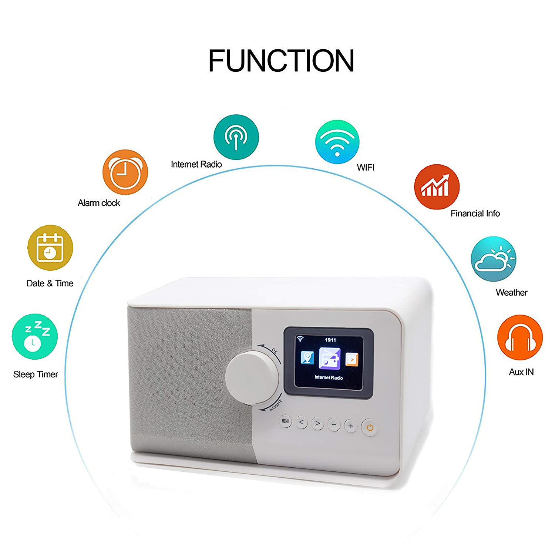ahiya Radio Digital Internet Wi-Fi Radio Receiver Stereo Speaker Preset Recall Playtime Alarm Remote APP Button Control 2.4
