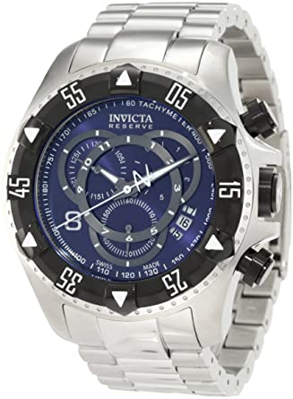 Invicta Mens 1882 Reserve Chronograph Blue Dial Stainless Steel Watch