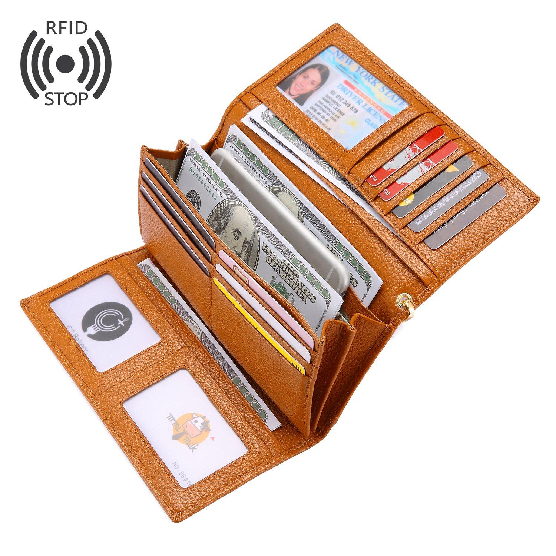 レディース財布 Realer 長財布 ウォレット 本革製 スナップ式 RFID&磁気スキミング防止 レディース 自分用もプレゼント用も最適 ギフトボックス付き B074XP9CRQ ブラウン ブラウン