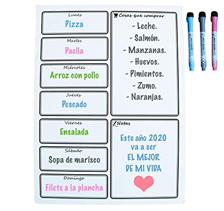 Calendario Magnético para Nevera - Ideal Planificador de Menú ...
