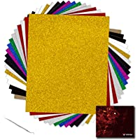"YRYM Glitter Heat Transfer Vinyl Bundle:18 Pack 12""x 10"" Sheets Glitter Vinyl,11 Assorted Colors, Glitter Iron On Vinyl…"