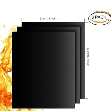 Estera para Parrilla de Barbacoa, 3 Piezas Láminas Antiadherentes láminas Resistentes al calor para horno
