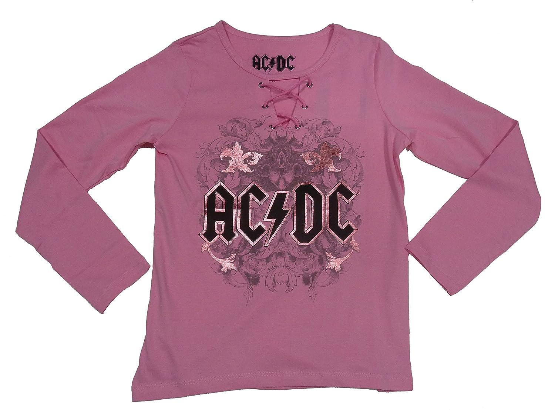 Rose Officiel MaQom T-Shirt Fille AC//DC Manches Longues Col Rond