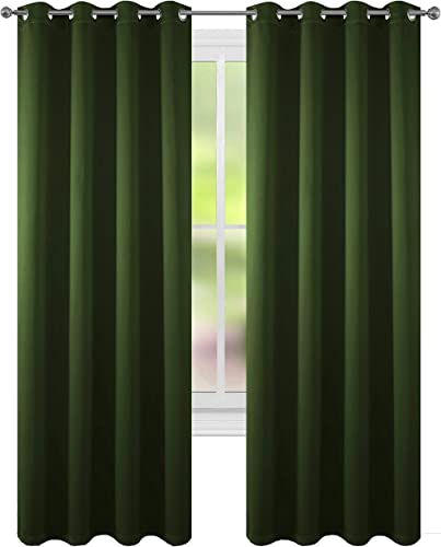 FLOWEROOM Blackout Curtains Thermal Insulated Draperies with Grommet for Bedroom, Olive, 52 by 95 inch, 2 Panels