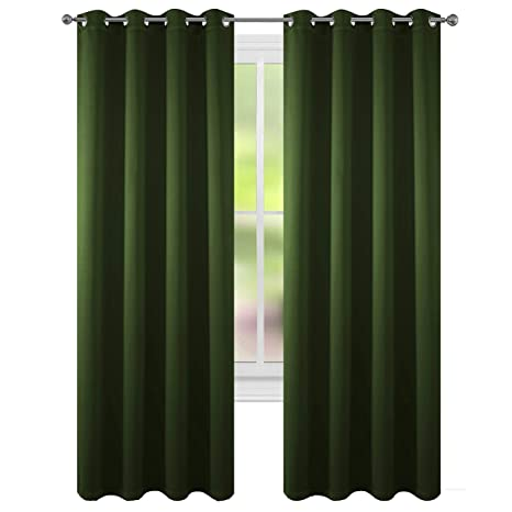 Floweroom Blackout Curtains Thermal Insulated Draperies With Grommet For Bedroom Olive 52 By 96 Inch 2 Panels