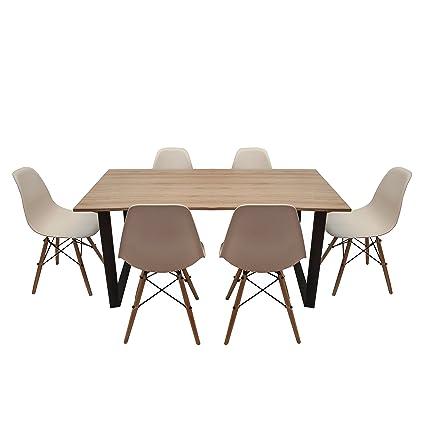 CASA FERRO Mesa De Comedor 6 Personas con 6 Sillas Eames Blancas ...