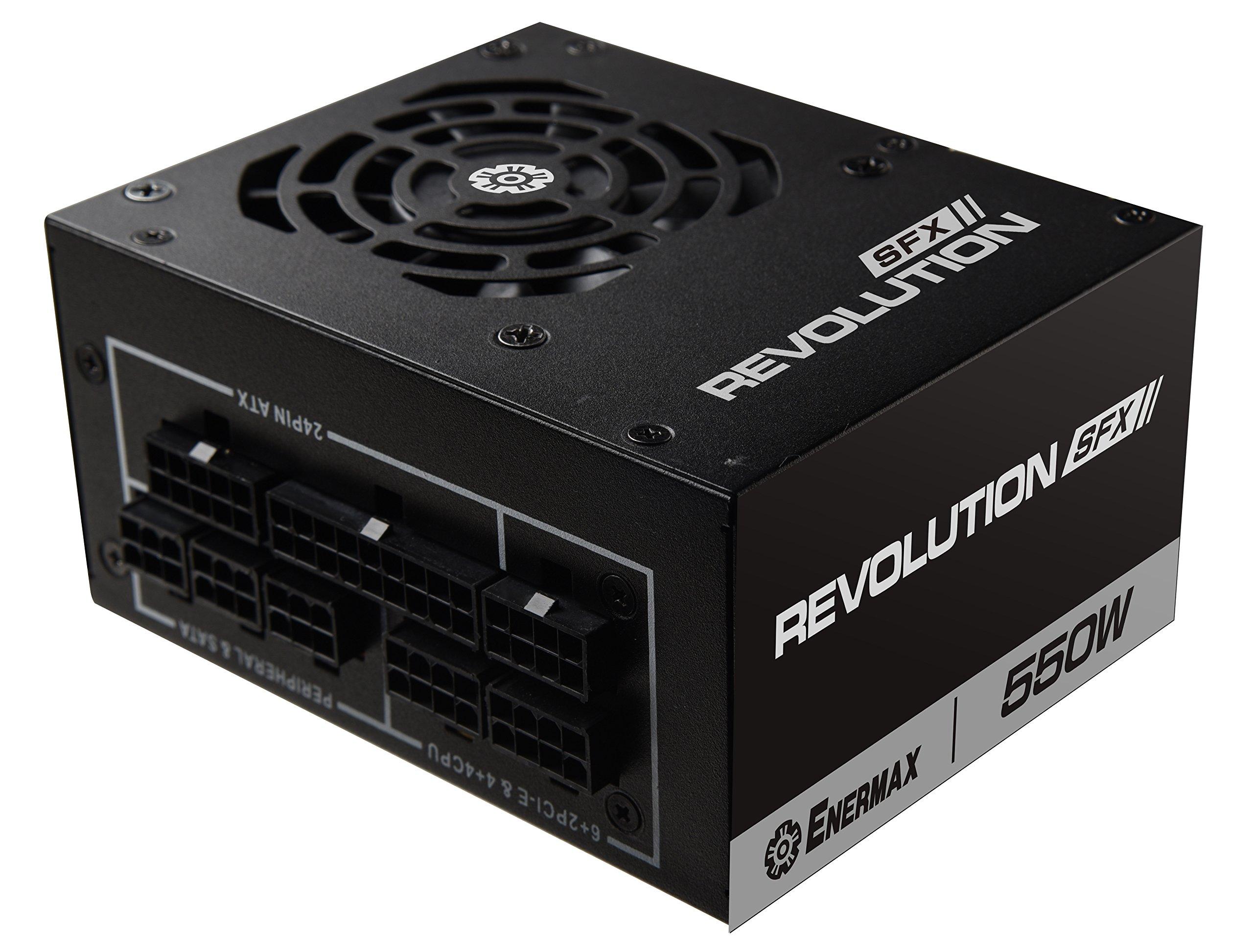 Enermax Revolution SFX 550W 80 Plus Gold Full Modular Semi-Fanless Power Supply with SFX-to-ATX PSU Adapter Bracket (ERV550SWT) |Free Q-Boom Bluetooth Speaker Inside|
