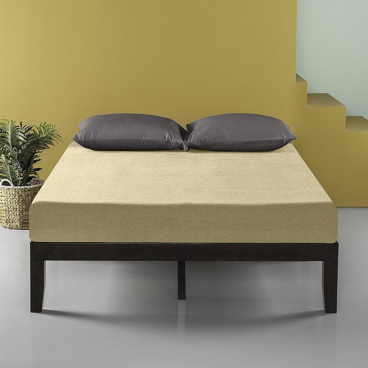 Zinus 14 Inch Wood Platform Bed / No Box Spring Needed / Wood Slat Support / Dark Brown, Full