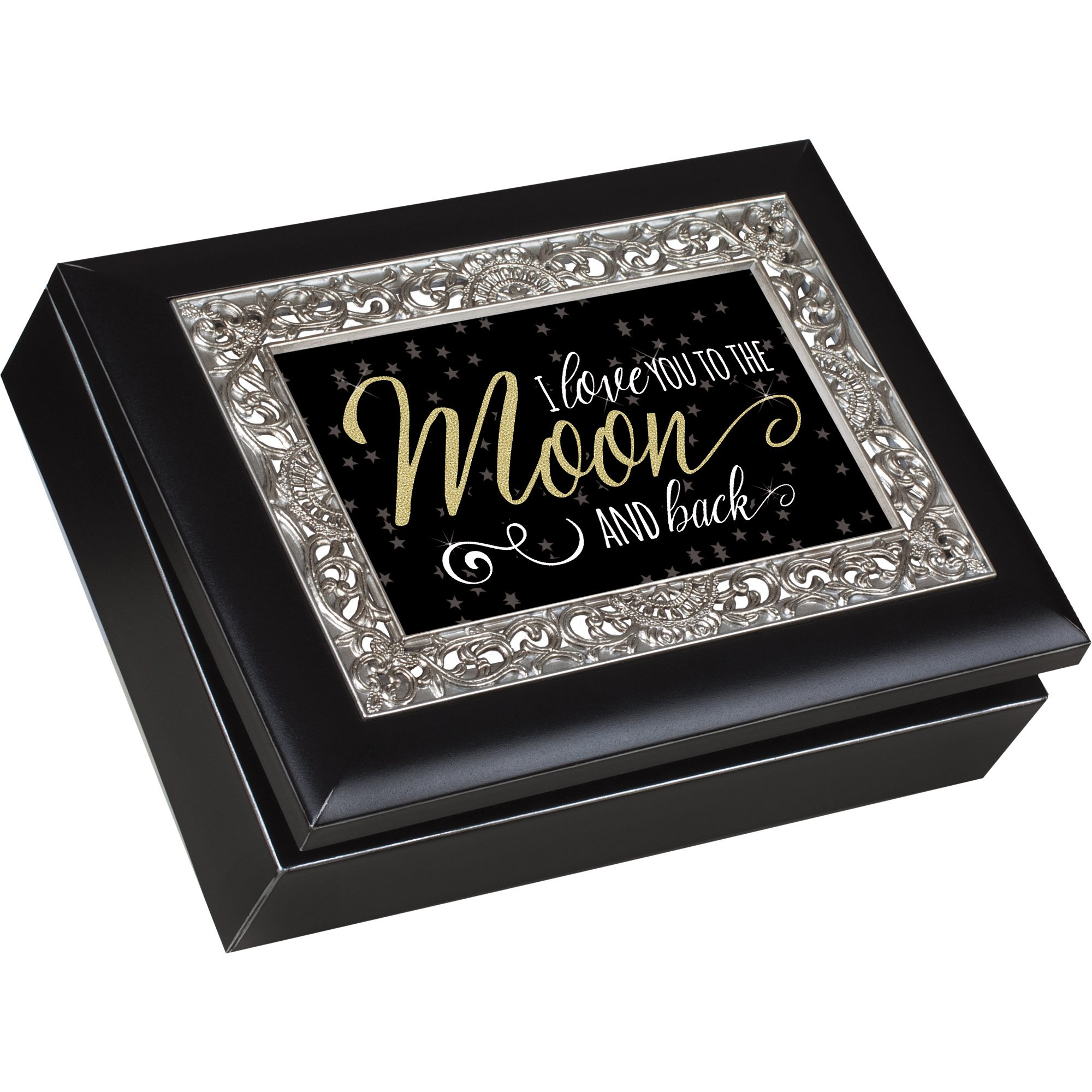 Cottage Garden Love You To The Moon Black Ornate Silver Tone Inlay Jewelry Keepsake Box