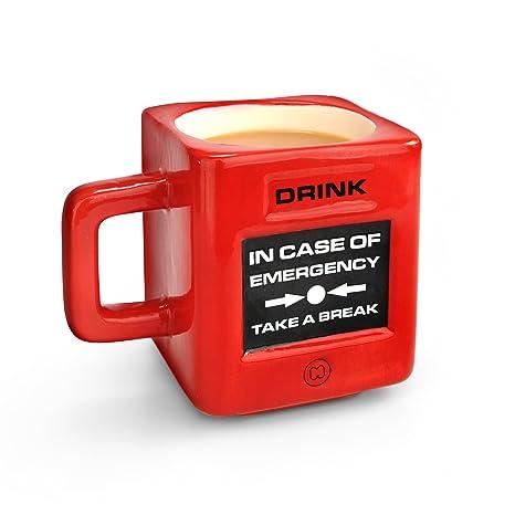 Mustard Take A Break - Taza, diseño de alarma de incendios (en inglés), color rojo y negro Taza de cerámica, Rosso, Centimeters
