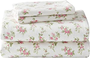 Laura Ashley Home - Flannel Collection - Sheet Set - 100% Cotton, Ultra-Soft Brushed Flannel, Pre-Shrunk & Anti-Pill, Machine Washable Easy Care, Twin, Audrey