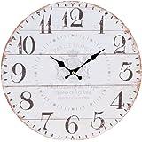 Shabby Chic Style Round 34cm Kitchen Dining Room Wall Clock Cream Grey