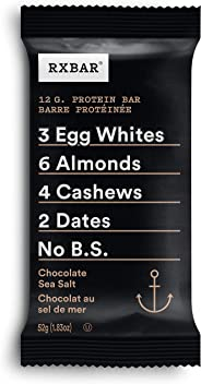 RXBAR Whole Food Protein Bar, Chocolate Sea Salt, 12 Count, 52g