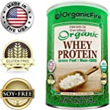 OrganicFire - Best Organic Whey Protein Powder - Build Lean Muscle Mass for Men - Natural Weight Loss for Women - 100% Guaranteed - Pre Post Workout BCAA - Gluten Free NON GMO Pure Grass Fed NO SUGAR