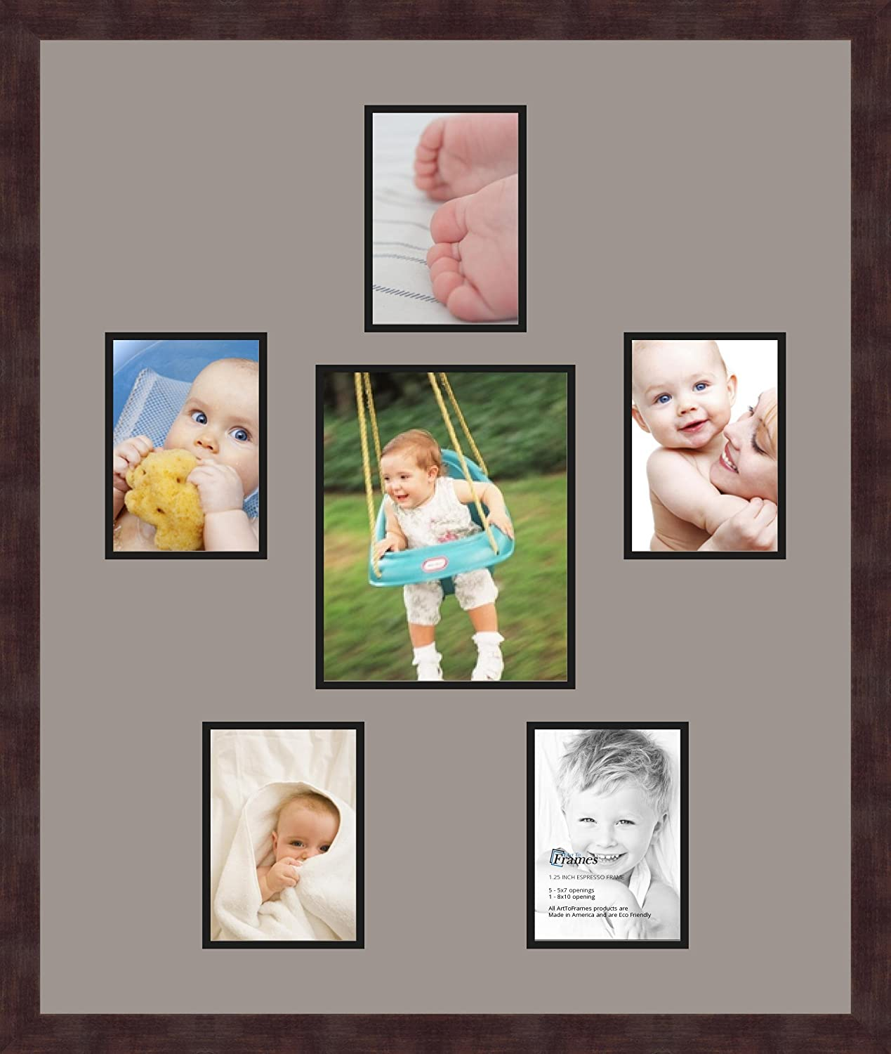 Art to Frames Double-Multimat-367-849//89-FRBW26061 Collage Frame Photo Mat Double Mat with 5-5x7 and 1-8x10 Openings and Espresso Frame