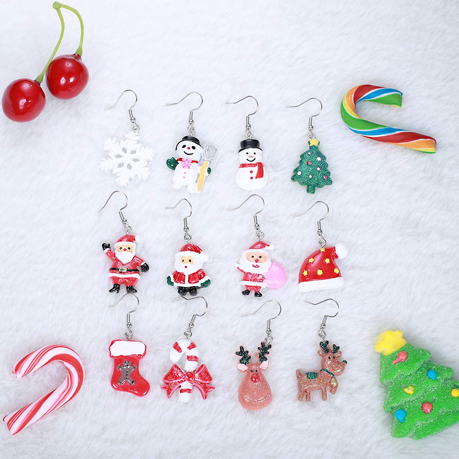 4 Pairs Earrings for Women Teens Girls Kids Jewelry Set Snowflake Abduct Deer Sock Santa Claus Christmas Tree Bell Xmas Handmade Christmas Dangle Earrings Holiday Festive Jewelry