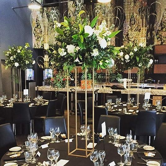 Everbon Pack of 10 31.5 Inch Tall 7.87 Inch Diameter Gold Floor Vases Flowers Vase Metal Column Wedding Centerpiece Stand Display Rack Marriage Aisle Decoration Pillar