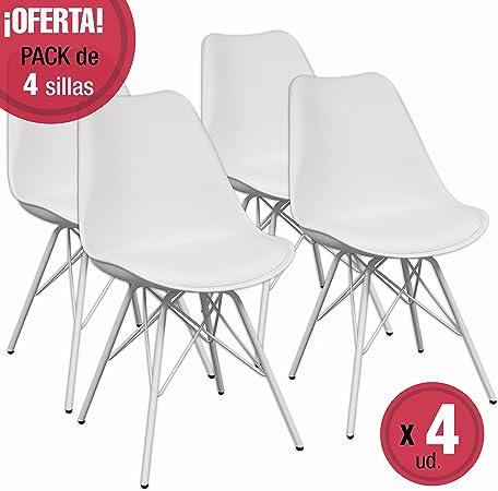 Homely Pack de 4 sillas de Cocina-Comedor Andy Hard, Patas de ...