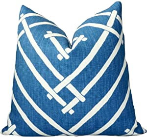 Robert Allen Chez Bamboo Ocean Blue White Geometric Throw Pillow Cover Decorative Chic Print Modern Rustic Cushion Cover Madcap Cottage Accent Toss Farmhouse Living Room Bedroom Sofa Couch Home Decor