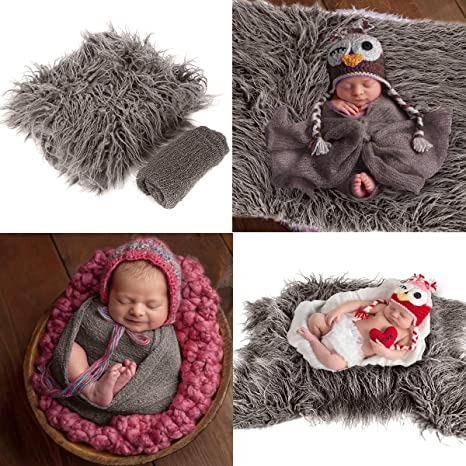 Ripple Wrap Set Newborn Photography Wrap Mat Yudanny Baby Photo Props Fluffy Blanket Coffee