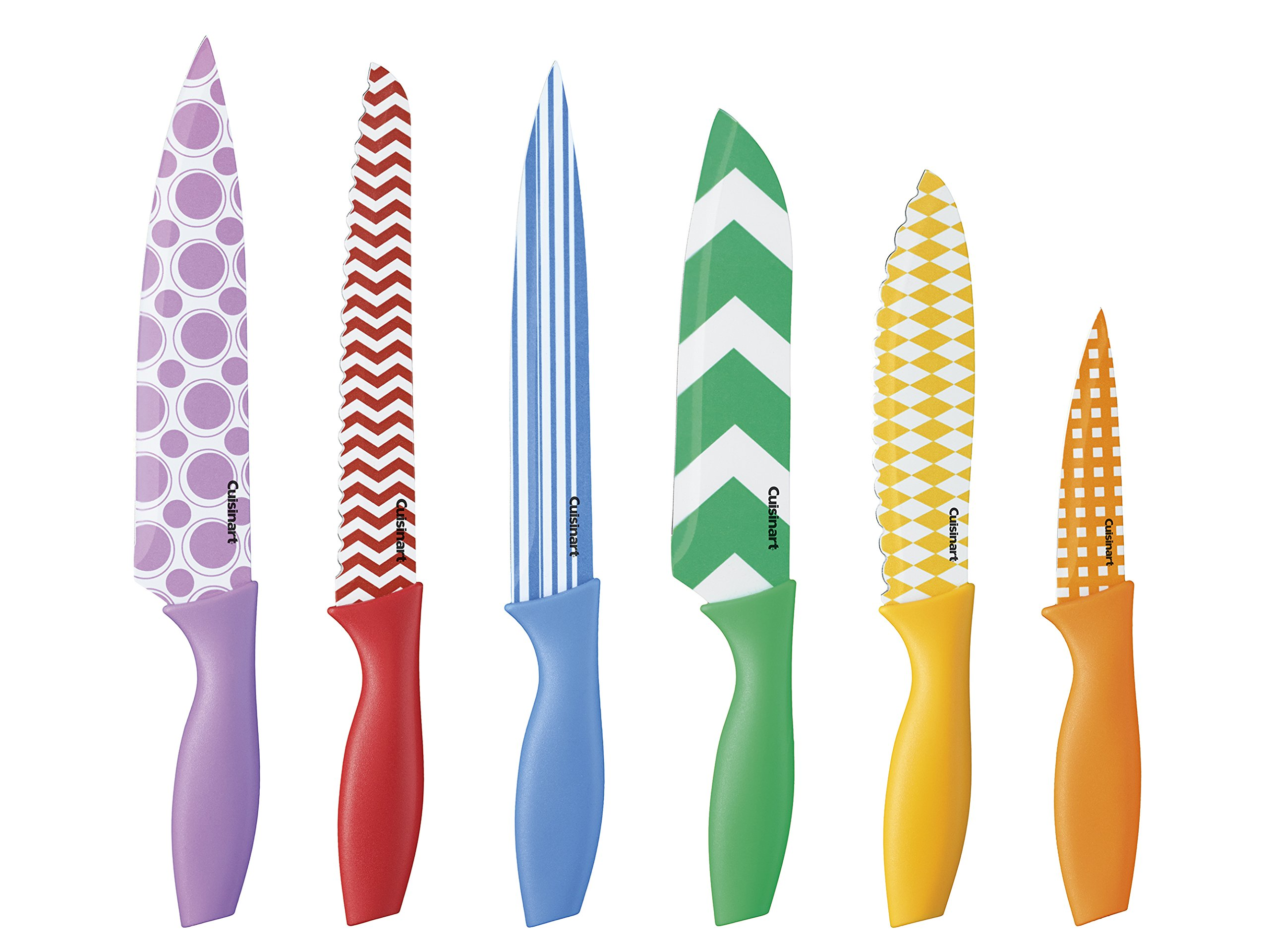 Cuisinart C55-12PR1 12-Piece Printed Color Knife Set with Blade Guards, Multicolored