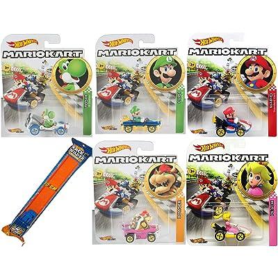 Hot Wheels Kart Time Mario Character car Set Toy Vehicle Bundle & Yoshi B Dasher, Luigi Mach 8, Peach, Bowser Badwagon and Mario Standard Cart + Orange Race Track 6 Items: Toys & Games