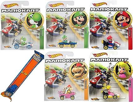 Hot Wheels Kart Time Mario Character Car Set Toy Vehicle Bundle Yoshi B Dasher Luigi Mach 8 Peach Bowser Badwagon And Mario Standard Cart
