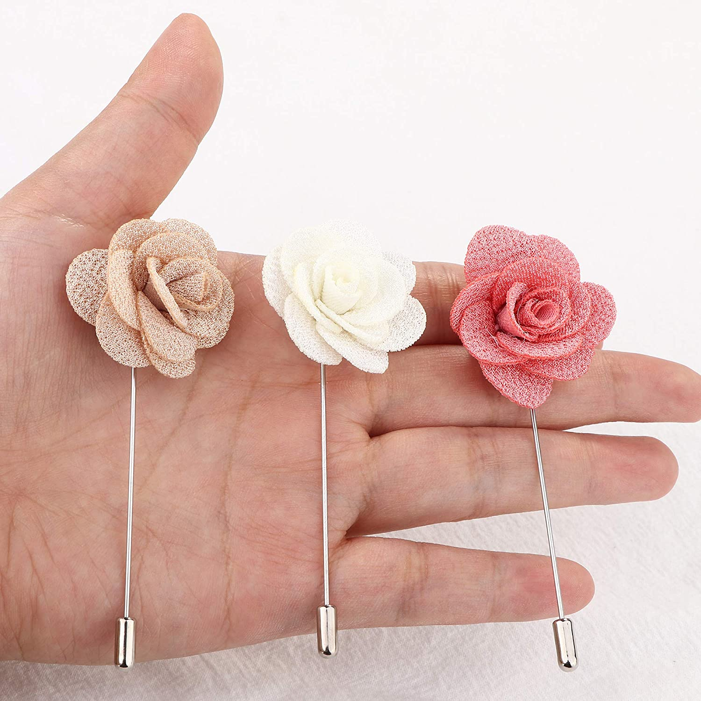 Hanpabum 20 Pieces Mens Lapel Pins Handmade Camellia Flower Boutonniere Stick for Suits Wedding