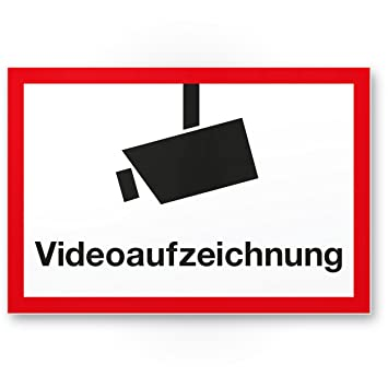Cartel de grabación de vídeo (Blanco de rojo, 30 x 20 cm ...
