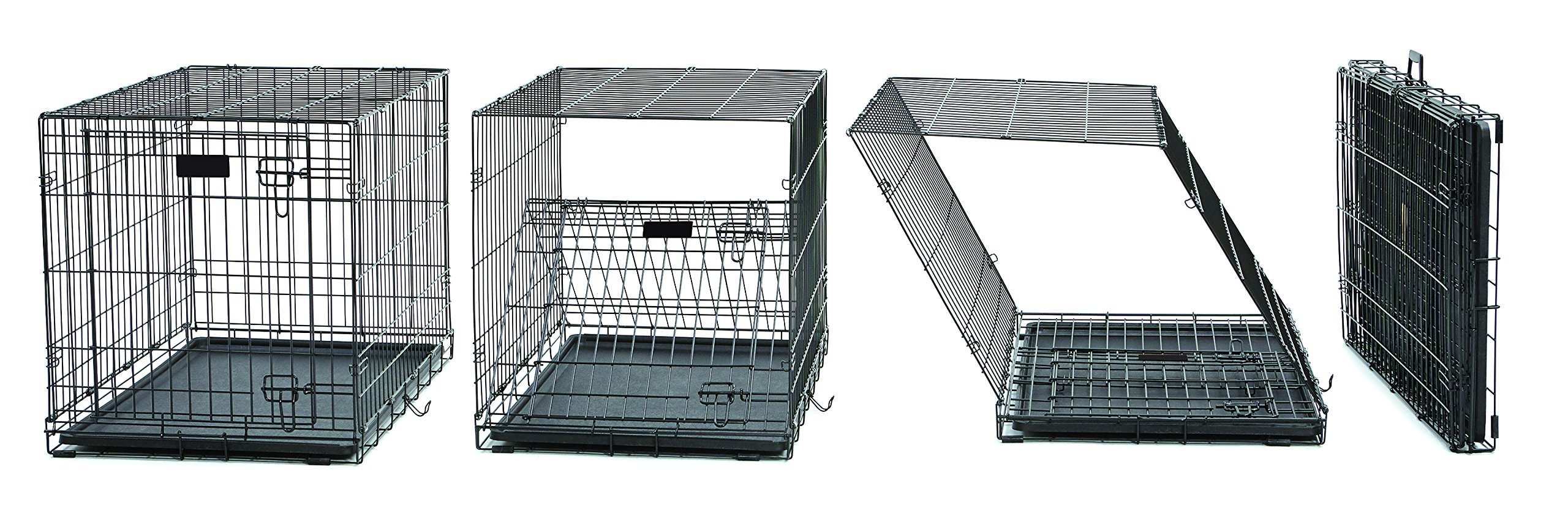 New World 30'' Folding Metal Dog Crate, Includes Leak-Proof Plastic Tray; Dog Crate Measures 30L x 19W x 21H Inches, For Medium Dog Breeds by New World Crates (Image #3)