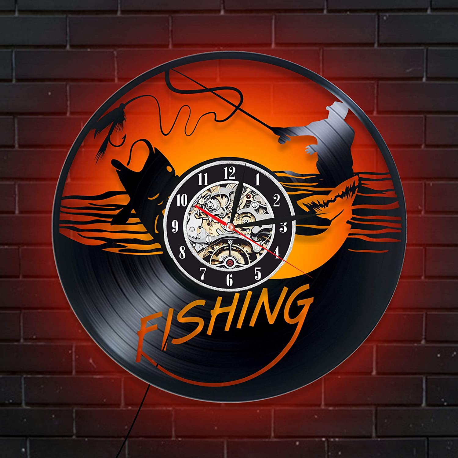 Levescale Fly Fishing Lighted Vinyl Wall Clock - Vintage Style for Him, Dad, Husband, Fisherman - Decoration for Kitchen, Bedroom - Fish - Hobbies - Needle Knot - Salmon - Coarse Fishing (Red)