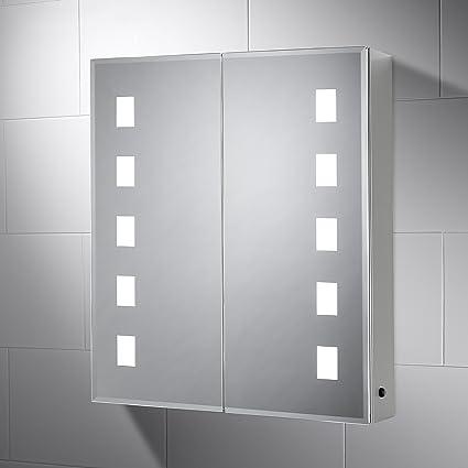 Surprising Pebble Grey 600 X 700 Mm Bathroom Mirror Cabinet Elana Led Illuminated Bathroom Cabinet Mirror With Shaver Socket Home Interior And Landscaping Oversignezvosmurscom