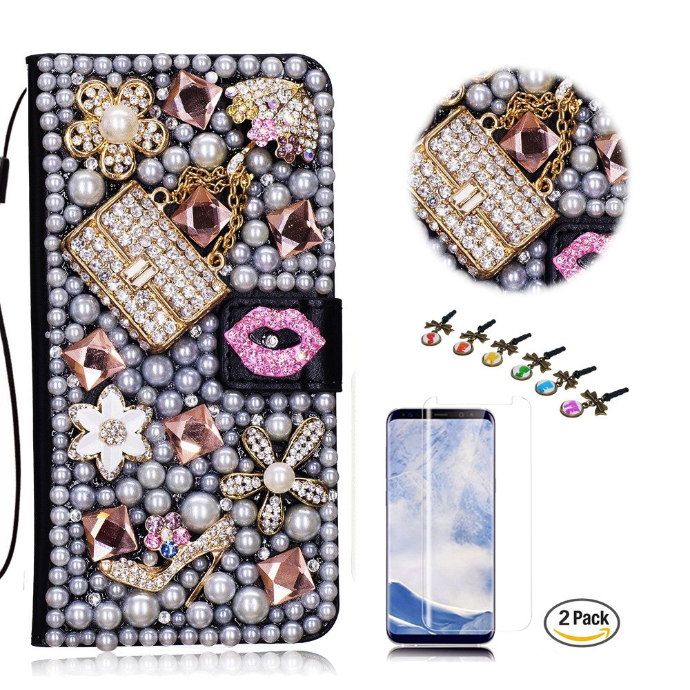 STENES Google Pixel 2 XL Case - STYLISH - 3D Handmade Bling Crystal Sexy Girls Bag High Heel Lips Design Wallet Credit Card Slots Fold Media Stand Leather Cover Case With Screen Protector - Pink
