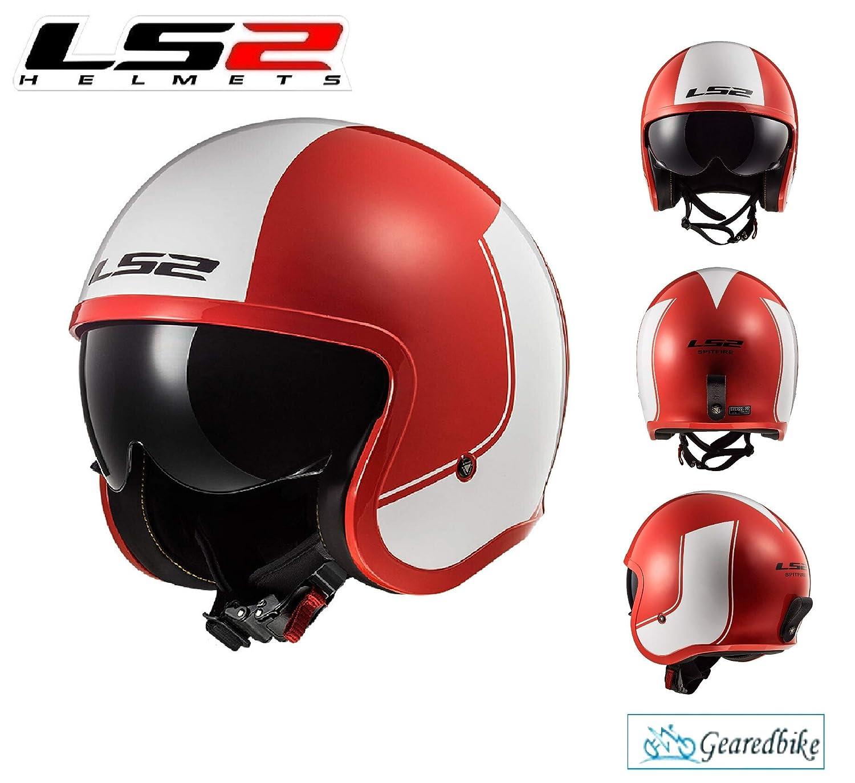 LS2 OF599 SPITFIRE RIM RED WHITE OPEN FACE HELMET Motorbike Motorcycle Vespa Retro Scooter Chopper Pilot Cruiser Sports Touring Urban ECE Certified Adult Jet Helmet