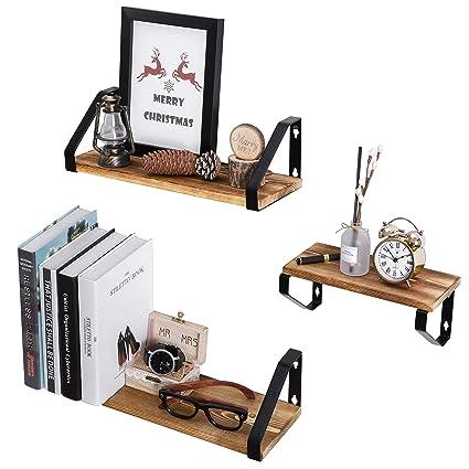 amazon com homemaxs floating shelves wall mounted set of 3 natural rh amazon com