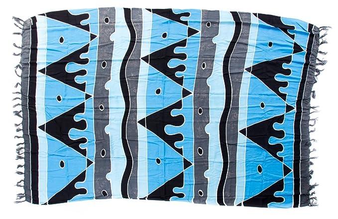 Sarong Pareo Dhoti Lunghi ca. 170cm x 110cm Blau Grau Schwarz mit  geometrischen Motiv Handgefertigt