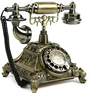 Antique Vintage Phone, Rotary Dial Retro Old Fashioned Landline Telephone for Home Office Cafe Bar Decor,European Style Landline Telephone Decor Collectors Gift (Style 5)