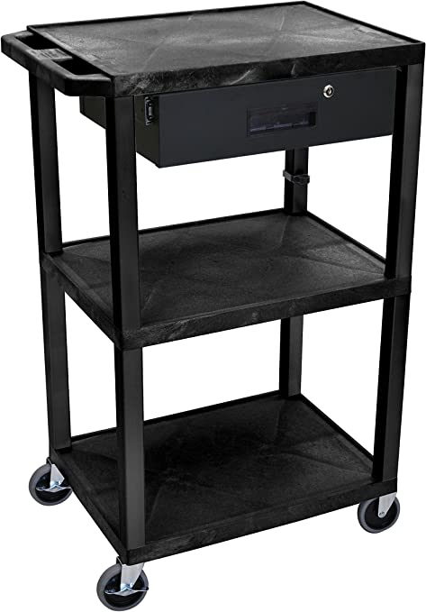Amazon Com Luxor 42 5 H Mobile Multipurpose Utility Supply Cart With 3 Shelves Drawer And Ergonomic Push Handle Black Home Kitchen