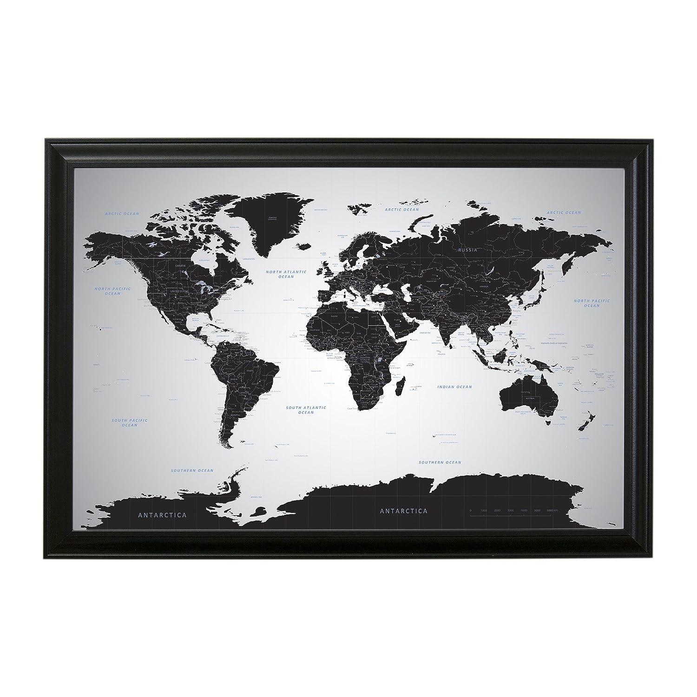 Amazon.com: Black Ice World Push Pin Travel Map with pins - 24 x 36 ...