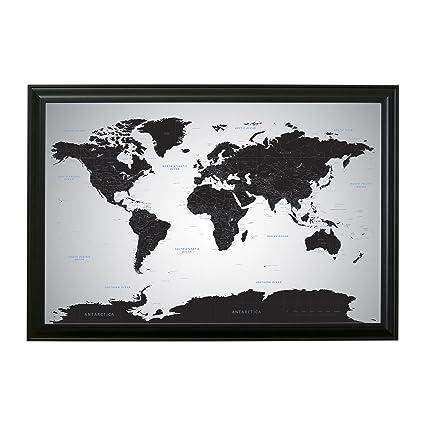 Amazon.com: Push Pin Travel Maps Black Ice World with pins - 24 x 36 ...