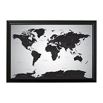 Amazon black ice world push pin travel map with pins 24 x 36 black ice world push pin travel map with pins 24 x 36 black frame gumiabroncs Image collections